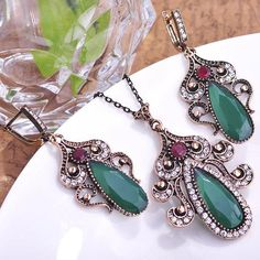 Luxury Emerald Turkish Jewellery Retro Loyal Vintage Jewelry Sets Turkey Necklace Earring Set Bijoux Women Conjunto De Joias Old Like and Share if you want thisGet it here ---> www.jewelryabo.co... #shop #beauty #Woman's fashion #Products #homemade