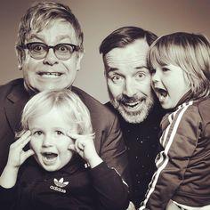 Sir ELTON JOHN  David Furnish & their sons  Zachary Jackson Levon Furnish-John +  Elijah Joseph Daniel Furnish-John 