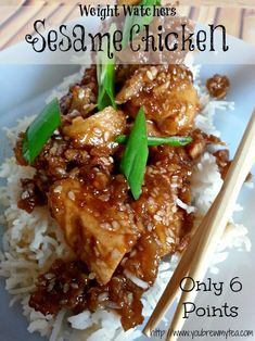 You Brew My Tea: Weight Watchers Sesame Chicken Recipe is only 6 Points Plus or 5 Smart Points per serving! Great Weight Watchers Recipe for dinner! Skinny Recipes, Ww Recipes, Asian Recipes, Great Recipes, Cooking Recipes, Healthy Recipes, Recipies, Mexican Recipes, Shrimp Recipes