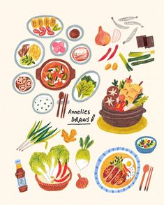 Some food illustration that I made for a food essay book, mostly about homemade Korean food :) . Art And Illustration, Food Illustrations, Painting Illustrations, Korean Illustration, Art Drawings, Web Design, Food Design, Kimchi, Caran D'ache