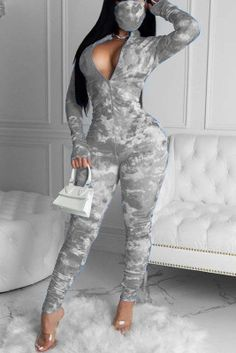 Dope Swag Outfits, Cute Comfy Outfits, Cool Outfits, Bodycon Jumpsuit, Printed Jumpsuit, Grey One Piece, Braces Girls, Grey Fashion, Style Fashion