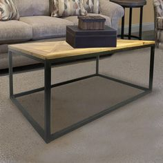Lux Home Industrial Reclaimed Wood Square Coffee Table, Black. Quadratische  Couchtische ...