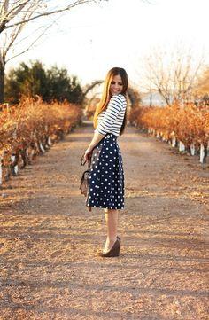 Black and white polka dot knee length skirt. got ours at Forever 21 for less than $20.00