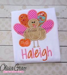 Girls Thanksgiving Shirt, Girls Turkey Shirt, Embroidered Applique Bodysuit or Shirt by OliviaGraceCouture on Etsy