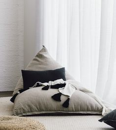 Luxury 'Doux' Bean Bag in Natural linen – Media Room İdeas 2020 Reading Corner Kids, Modern Bean Bags, Bedroom Reading Nooks, Meditation Room Decor, Meditation Space, Upcycled Home Decor, Floor Cushions, Bed Pillows, Houses
