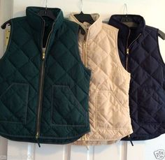 J. Crew Excursion Quilted Puffer Vest, green