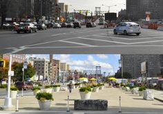 Before and after on Delancey Street, New York City.