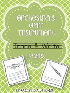 Seven different pages of instruments, with 4 instruments per page, different printing options for each page. Pages may be used individually, or combined into a book using one of two cover options. Select as few or as many pages as will meet the needs of your students & your lesson objectives.  *Primary students - trace & write option, which provides students with proper spelling of each instrument name.  *Older students - write only option (no tracing), assessment or a write-the-room…