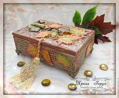 """Купить Шкатулка """"Осенние письма"""" - шкатулка деревянная, шкатулка, шкатулка для украшений, шкатулка ручной работы"""