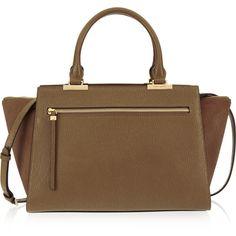 Henri Bendel Gotham Haircalf Satchel (2,460 HKD) ❤ liked on Polyvore featuring bags, handbags, taupe, handbag purse, purse satchel, satchel purses, brown purse and handbag satchel