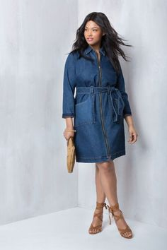 Zip Front Denim Dress with Tie | Into the Groove Collection | Women's Plus Size Fashion | ELOQUII