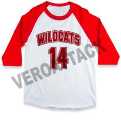 wildcats 14 raglan unisex tee shirt for adult men and women Movie Shirts, Tee Shirts, Tees, High School Musical Costumes, Cheer Camp, Vans Outfit, Musicals, Unisex, Disneyland