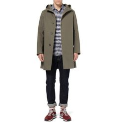 Mackintosh Hooded Raincoat, gingham shirt, jeans with turn-ups, New Balance trainers