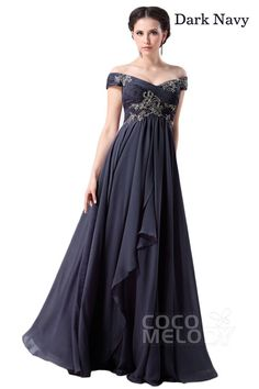 Modest A-Line Off The Shoulder Floor Length Chiffon Mother of The Bride Dress with Draped and Crystals COZF14058
