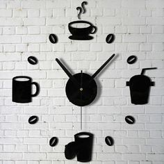 Coffee Cups Kitchen Wall Art Mirror Clock Watches Decor For Living #JoyliveCY
