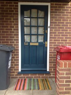 Our finished front door in Hague blue. Hague Blue, Front Door Makeover, London Style, Front Door Colors, London Fashion, Garage Doors, Paint, Outdoor Decor, House