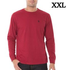 ✨NWT✨ US Polo Men's Long Sleeve Solid XXL Tee In Red  #USPoloAssn #Longsleevetee