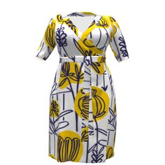 Cashmerette Appleton Dress made with Spoonflower designs on Sprout Patterns. Yellow Dress, Spoonflower, Dress Making, Poppy, Beautiful Dresses, Wrap Dress, High Neck Dress, Dresses For Work, Patterns