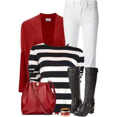 A fashion look from January 2015 featuring red top, flared jeans and black knee high platform boots. Browse and shop related looks.