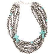 Ranch Royalty Multi Strand Necklace w/Turquoise Crosses