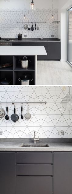 9 Inspirational Kitchens With Geometric Tiles // The white tiles and dark grout are in keeping with the rest of the color scheme in this concrete, grey, and white kitchen.