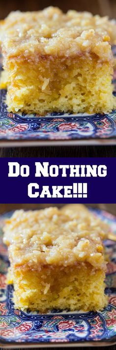 Do Nothing Cake is also known as Texas Tornado Cake - it's a super easy pineapple poke cake topped with a delicious coconut and walnut frosting.