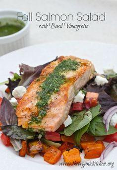 Fall Salmon Salad with Basil Vinaigrette | The Organic Kitchen Blog and Tutorials