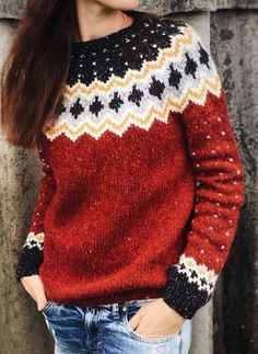 Women Knitted Stretchy Vintage Sweaters Type:Long SleeveElasticity:StretchyMaterial:Cotton,KnittedNeckline:Round NeckOccasion:Going Vintage Sweaters, Red Sweaters, Sweaters For Women, Cardigans, Mode Crochet, Knit Crochet, Icelandic Sweaters, Mode Outfits, Knitting Designs