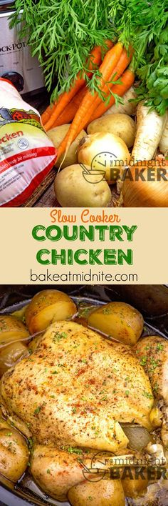 Country chicken cooked low and slow in the slow cooker. Veggies get a fantastic…