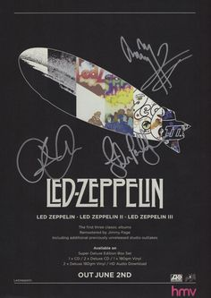 LED Zeppelin II III Out June 2nd 2014 Signed A4 Promo Print | eBay