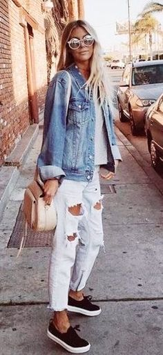 #Summer #Outfits / Denim Jacket + White Ripped Pants