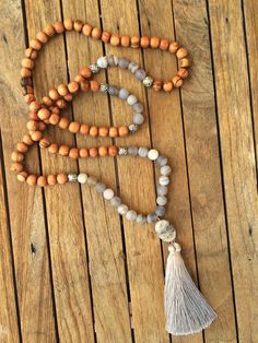 matte grey agate traditional 108 bead mala prayer by eversdesigns