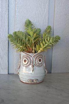 Handmade Stoneware Pottery Owl Vase - Planter