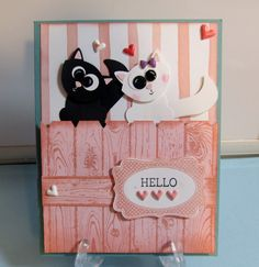 I used the Fox Builder punch for the cats, except for the eyes, where I used the owl punch. Two sizes of eyes give them their goofy look. I Stamped Blushing Bride cardstock with Blushing Bride in and notched the top to create the fence. Cat Cards, Kids Cards, Owl Punch Cards, Paper Punch Art, Animal Cards, Cards For Friends, Valentine Day Cards, Homemade Cards, Stampin Up Cards