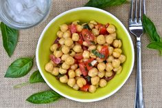 chickpea & tomato salad with fresh basil - peace. love. quinoa