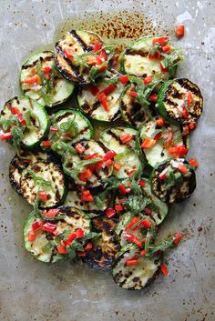 Grilled Zucchini with mint and chili