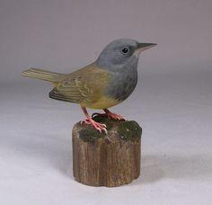 Mourning Warbler Hand Carved Wood Bird by jjstudio on Etsy, $125.00