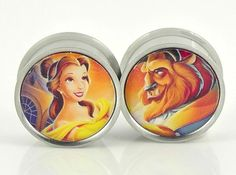 Beauty and the Beast Image Plugs Embedded Resin by GlitzGauge, $16.00