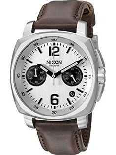 Nixon Men's 'Charger Chrono' Quartz Metal and Leather Automatic Watch, Color:Brown (Model: A10731113-00) ❤ Nixon Inc.
