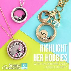 Her Hobbies Origami Owl Living Lockets highlight what she loves   Great for Mother's Day, birthdays or Christmas present from StoriedCharms.blogspot.com