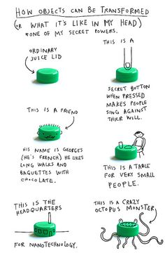 """How Objects Can Be Transformed.  From Keri Smith's essay """"How I Discovered My Secret Powers"""". Click the image to read it!"""