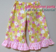 Ruffle Bloomer Pants Pattern and Tutorial: sizes 2T - 5T