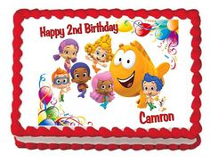 Bubble Guppies edible image cake and cupcake toppers
