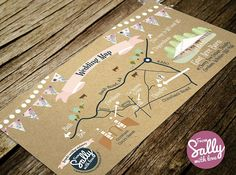 A rustic wedding map to go with Hannah and Barney's wedding invitations. This lovely couple got married in Corsham, Wiltshire. #vintage #wedding #invitation #map #rustic #brown #paper #card #bunting #pink #fairylights #bespoke #personalised #professional #love #engaged http://www.fromsallywithlove.co.uk