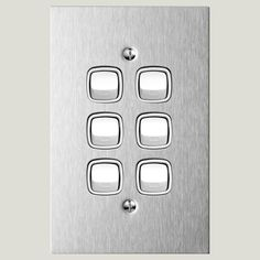 Switch 6 gang - AU Site Stainless Steel Metal, Lounge, Room, Decor, Airport Lounge, Dekoration, Decoration, Lounge Music, Rooms