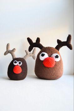 Nem DIY Hæklet julepynt - Hækleopskrift Rudolf Photo Christmas Ornaments, Diy Christmas Decorations Easy, Retro Christmas, Diy Christmas Ornaments, Music Ornaments, Unicorn Ornaments, Pattern Cute, Crochet Pattern, Drops Design