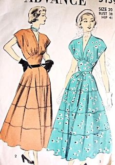 1940s Lovely Midriff Dress Pattern Advance 5159 Figure Flattering V Neckline Tea Length Full Skirt Day or Party Evening Dress Bust 38 Vintage Sewing Pattern