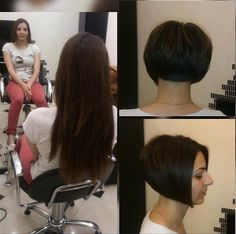 Sexy Bob Haircut, Wedge Haircut, Shaved Bob, Shaved Nape, Pixie Bob Hairstyles, Hairstyles Haircuts, Bob Haircuts, Cut My Hair, Long Hair Cuts