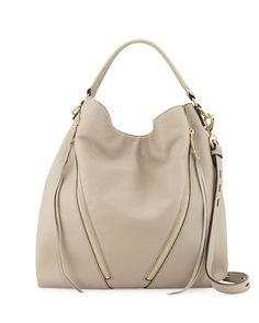 "Rebecca Minkoff grained leather moto hobo bag. Golden hardware. Rolled top handle with rings, 5"" drop. Removable, adjustable shoulder strap, 17.5"" drop. Open top with snap closure. Front zip pockets."