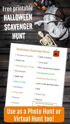 Free printable Halloween Scavenger Hunt - great for tweens, teenagers and adults! Can use as Virtual Hunt or Photo Scavenger hunt too! Halloween Photos, Halloween Games, Halloween Birthday, Diy Halloween Decorations, Halloween Ideas, Fun Party Games, Party Activities, Party Ideas, Halloween Scavenger Hunt